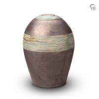 Keramische urn, met één band en groenig lijneffect