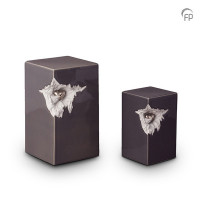 Keramische urn rechthoekig grijs met hart-KU015