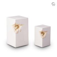 Keramische urn rechthoekig wit met hart