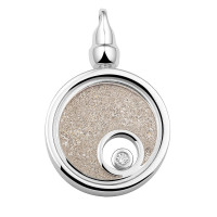 Ashanger rond, zilver/goud, glas