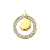 Ashanger, rond-gesloten, zilver/goud met cirkel