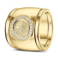 """Vingerafdrukring, rond, zilver, goud, diamant, siders """"Gold Line"""""""