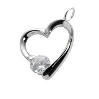Ashanger zilver hartvorm, zirkonia a-symetrisch