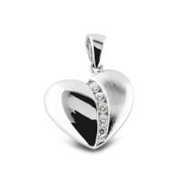 Ashanger zilver hart klein, zirkonia's