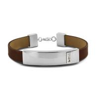Lederen armband met kleine open ruimte rechthoek