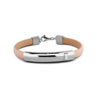 Lederen armband met kleine open ruimte rechthoek 7MM
