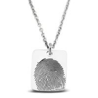 Zilveren plaatje inclusief collier voor gravure/vingerafdruk