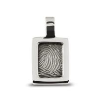 Zilveren vingerafdrukhanger, rond, ovaal, rechthoek