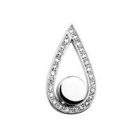 Ashanger, druppel-gesloten, zilver/goud met rand
