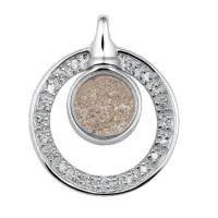 Ashanger, rond-open, zilver/goud met cirkel