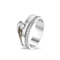 """Zilveren ring met open ruimte, vaste """"aanschuifring"""", 2 varianten"""