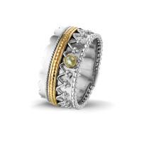 """Zilveren ring, kleine open ronde ruimte, accenten """"Royals"""""""