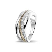 Zilveren ring met smalle open ruimte, zirkonia