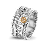 """Zilveren ring, open kleine ronde ruimte, accenten """"Royals"""""""