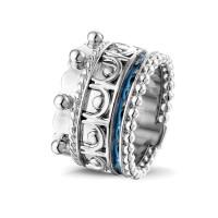 """Zilveren ring, smalle open ruimte, kroon accenten """"Royals"""""""