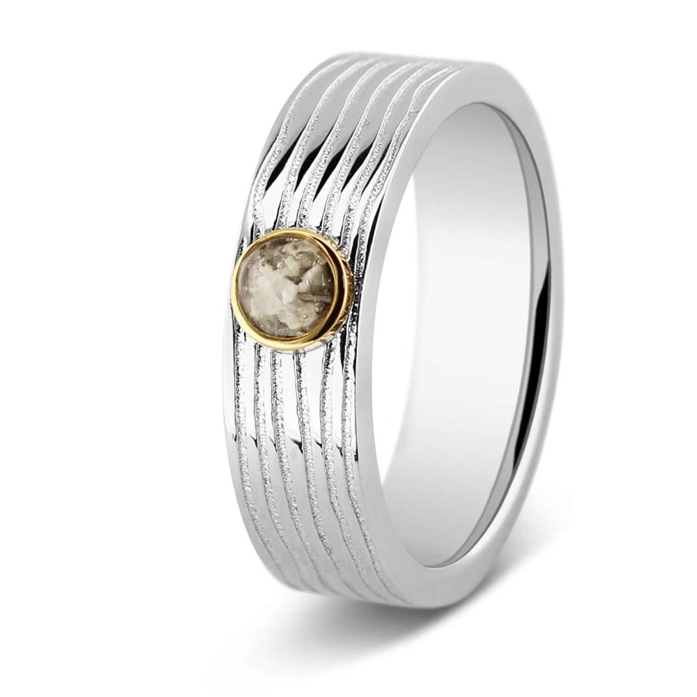 Zilver Gouden Ring Met Ronde Ruimte En Lijn Accent