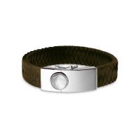Lederen vingerafdruk armband, rond of vierkant.
