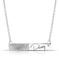 Zilveren smal plaatje inclusief collier voor gravure/vingerafdruk