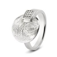 Zilveren ring, voor gravering of vingerafdruk met zirkonia