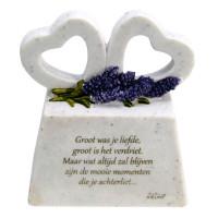 Gedenksteentje, marmerlook met hart en tekst