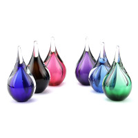Glazen mini-urn, druppel, diverse kleuren