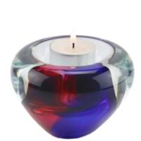 Glazen waxinelichthouder met asruimte,  4 varianten