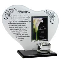 Waxinelichthouder, spiegel met gedicht en fotoruimte