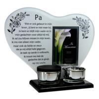 Waxinelichthouder, spiegel met gedicht, een mini-urn, fotoruimte
