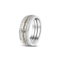 Zilveren ring enkele smalle open ruimte rondom, 2 varianten