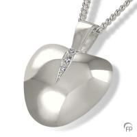 Ashanger hartvorm, zirkonia / briljant, twee asruimtes