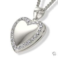 Ashanger medaillon hart glanzend zirkonia / briljant