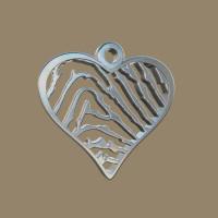 Vingerafdrukhanger 3D hartvorm, in smalle punt eindigend