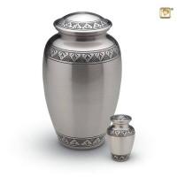Urn zilver of goudkleur met blad accent