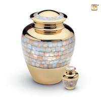 Mini-urn messing met mozaïek parelmoer accent