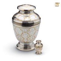 Mini-urn zilver met messing bloem accent
