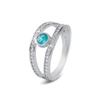 Twee zilveren ringen met zirkonia, ronde open ruimte