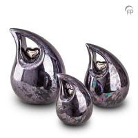 Keramische druppel urn met hart, zwart olie-effect-KU007