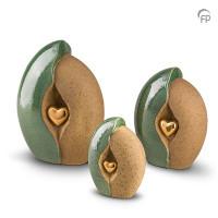 Keramische urn met hart, oker-KU003