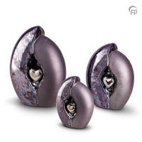 Keramische urn met hart, zwart olie-effect-KU010