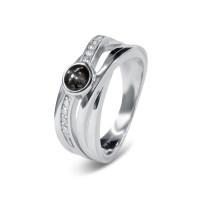 Zilveren ring, fantasie, met ronde open ruimte
