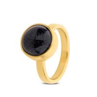 Stalen ring, asruimte, blauwe goudsteen, 2 varianten
