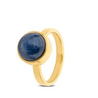 Stalen ring, asruimte, blauwe Kyanite, 2 varianten