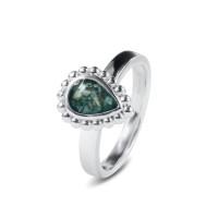 Zilveren ring met open ruimte bolletjesrand 6 varianten