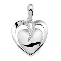 Hanger dubbele hartvorm, zirkonia/diamant