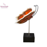 Houten mini-urn vlinder op granieten blokje, Gehakkelde Aurelia