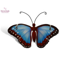 Houten mini-urn vlinder op granieten blokje, Blauwe Morpho