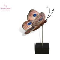 Houten mini-urn vlinder op granieten blokje, Nachtpauwoog
