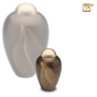 Urnenserie Elegant Leaf® met blad gravering, 3 kleuren