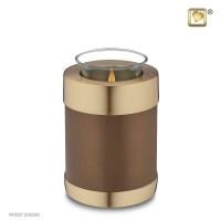 Waxinelichthouder, brons- en goudkleurige matte ring