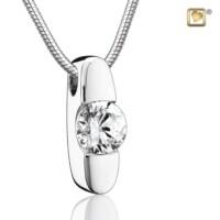 Zilveren ashanger Hope® met collier en een witte kristal